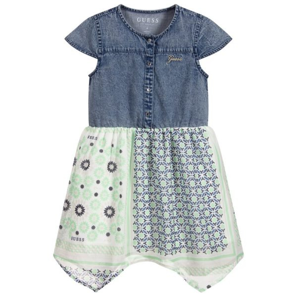 guess girls denim chiffon dress